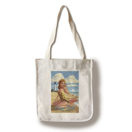 Cape Cod, Massachusetts - Woman on Beach with Lobster - Pinup Girl - Lantern Press Artwork (100% Cotton Tote Bag - Reusable)