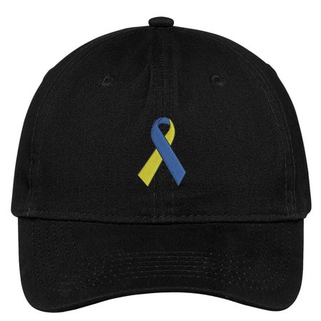 Trendy Apparel Shop Down Syndrome Ribbon Embroidered Soft Crown 100% Brushed Cotton Cap (Crown Royal Cap)
