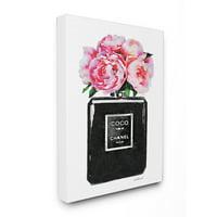 Stupell Industries Perfume Bottle Flower Black Peony Pink Canvas Art