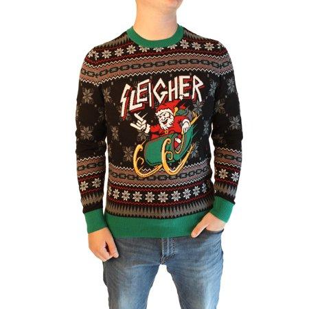 Ugly Christmas Sweater Trophy (Ugly Christmas Sweater Men's Xmas Metal Sleigher Santa Sleigh)