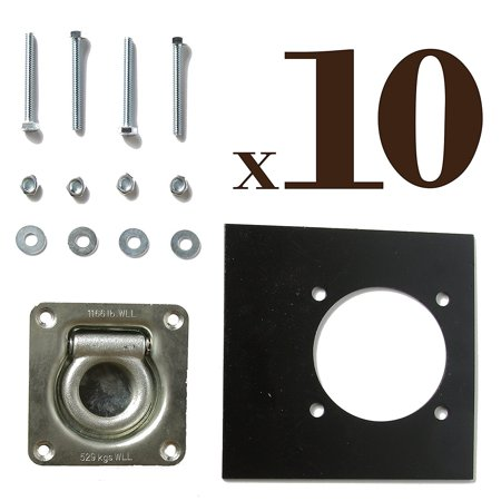 TEN Recessed D-Ring Pan Fittings | Small Square Tie-Down D Ring Trailer Cargo Tiedown Anchors + Mounting Lock Plates + Installation Tie Down Hardware Parts, Carriage Bolts, Keps Nuts, Flat Washers