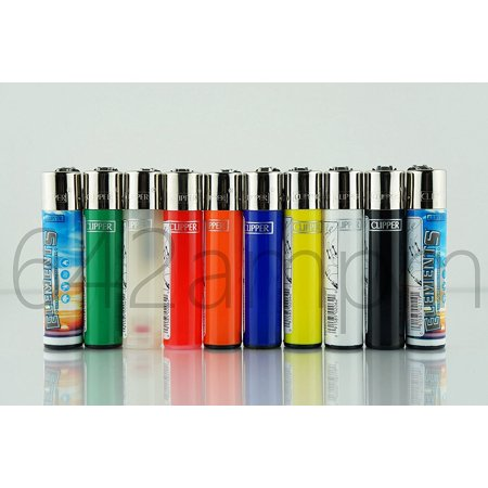 (10 New Refillable Original Lighters 8 Solid Colors & 2 Element Design, Quantity: 10 lighters By Clipper)