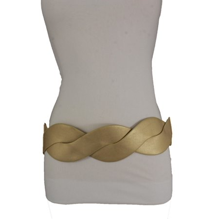- Women Gold Belt Elastic Waistband Twisted Braided Faux Leather
