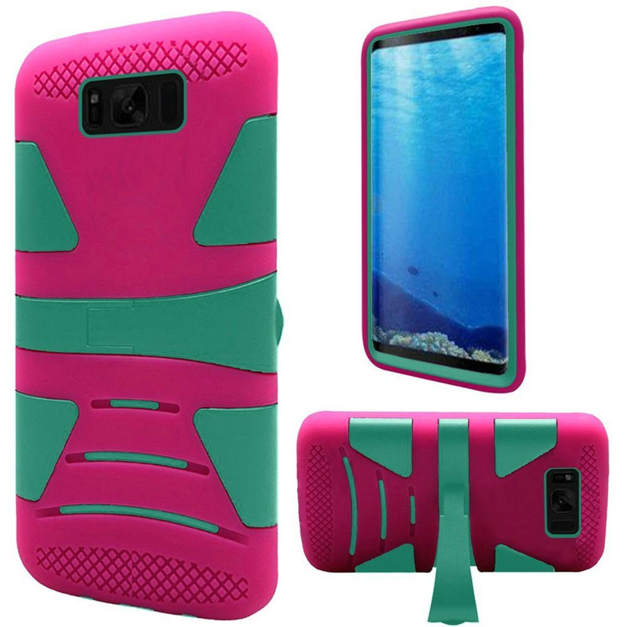 Samsung Galaxy S8 Case, by HR Wireless Dual Layer Hybrid Stand Hard Plastic/Soft TPU Rubber Case Phone Cover For Samsung Galaxy S8, Teal/Hot Pink