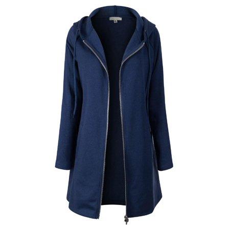 Made by Olivia Women's Casual Oversized Fit Long Zip Up Pullover Hoodie Tunic Sweatshirt Jacket (S-3X) Navy Blue 3XL Navy Blue Crew Sweatshirt