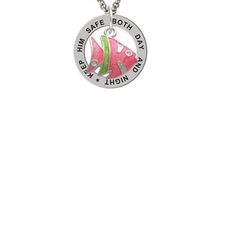 Keeping Tropical Fish - Hot Pink Tropical Fish with Lime Green Stripe Keep Him Safe Affirmation Ring Necklace