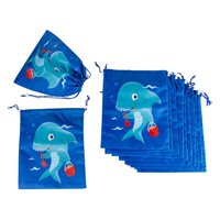 Drawstring Bags - 12-Pack Party Favor Bag for Kids Birthday, Baby Shower - Giveaway Gift Bags, Goodie Bags, Treat Bags Party Supplies for Boys and Girls, Blue Shark, 10 x 12 Inches