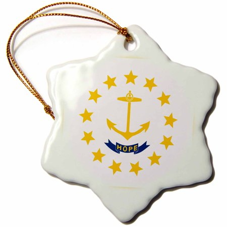 3dRose Flag of Rhode Island RI - US American United State of America USA - Yellow anchor Hope on white, Snowflake Ornament, Porcelain, 3-inch