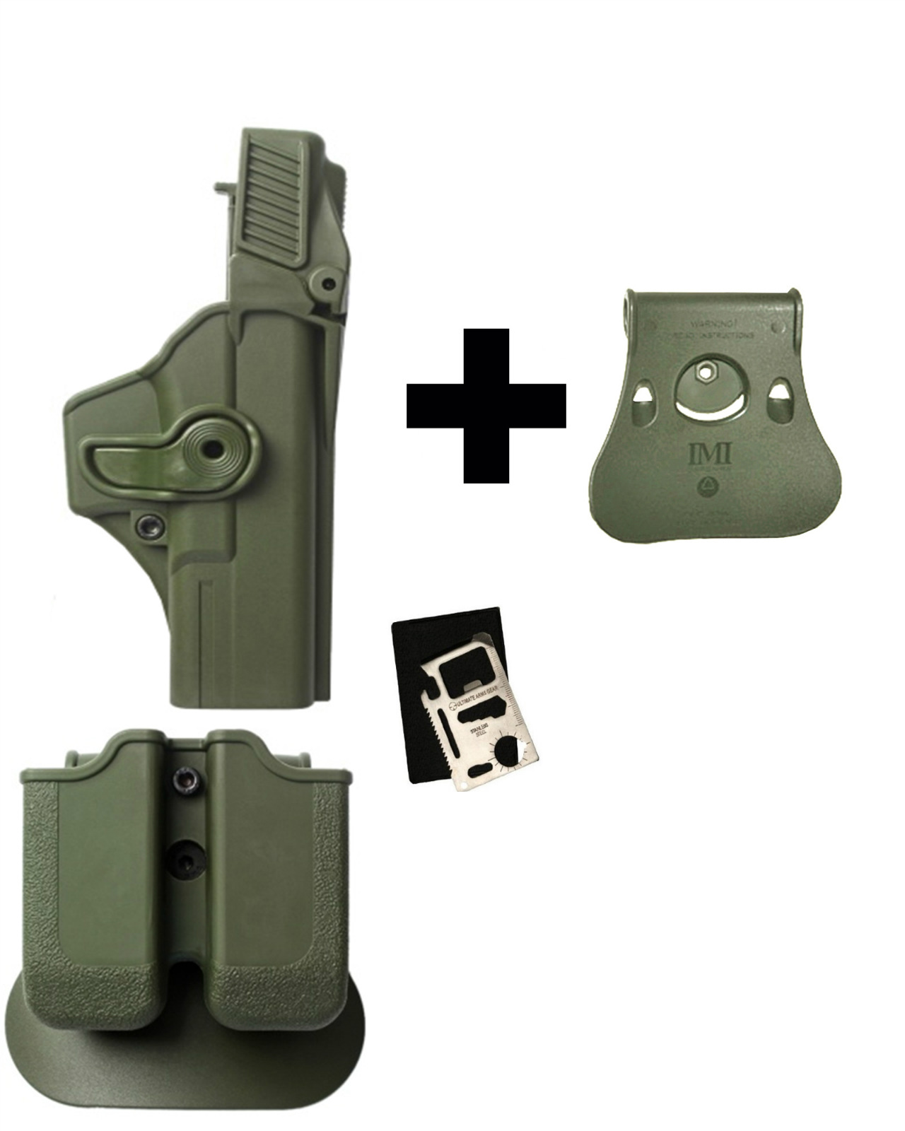 IMI Defense Z2000 MP00 Double Mag Holder & Paddle + Z1410 Level 3 360� Rotate Holster Glock 17 22 31 Gen 4, OD + Paddle... by