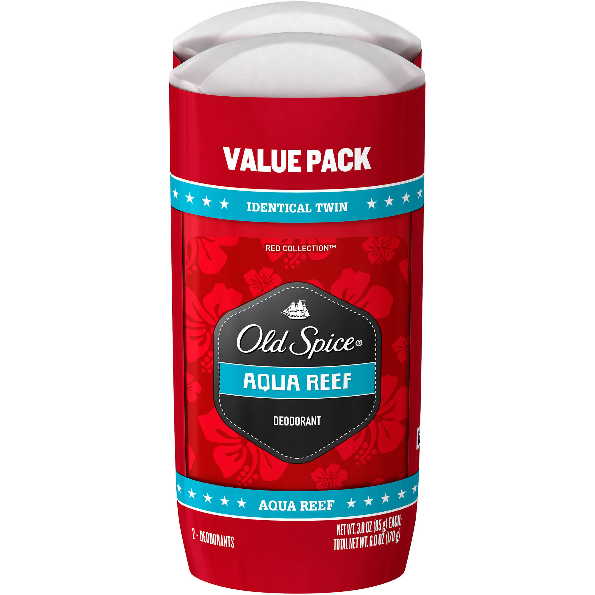Old Spice Red Zone Collection Aqua Reef Scent Deodorant, 3 oz, (Pack of 2)