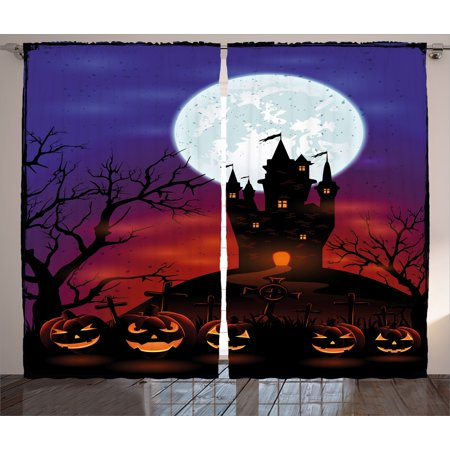 Halloween Decorations Curtains 2 Panels Set, Gothic Haunted House Castle Hill Valley Night Sky October Festival Theme, Window Drapes for Living Room Bedroom, 108W X 84L Inches, Multi, by Ambesonne for $<!---->