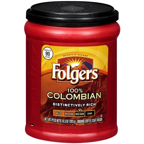 Folgers Coffee Medium-Dark 100% Colombian Ground, 10.3 oz