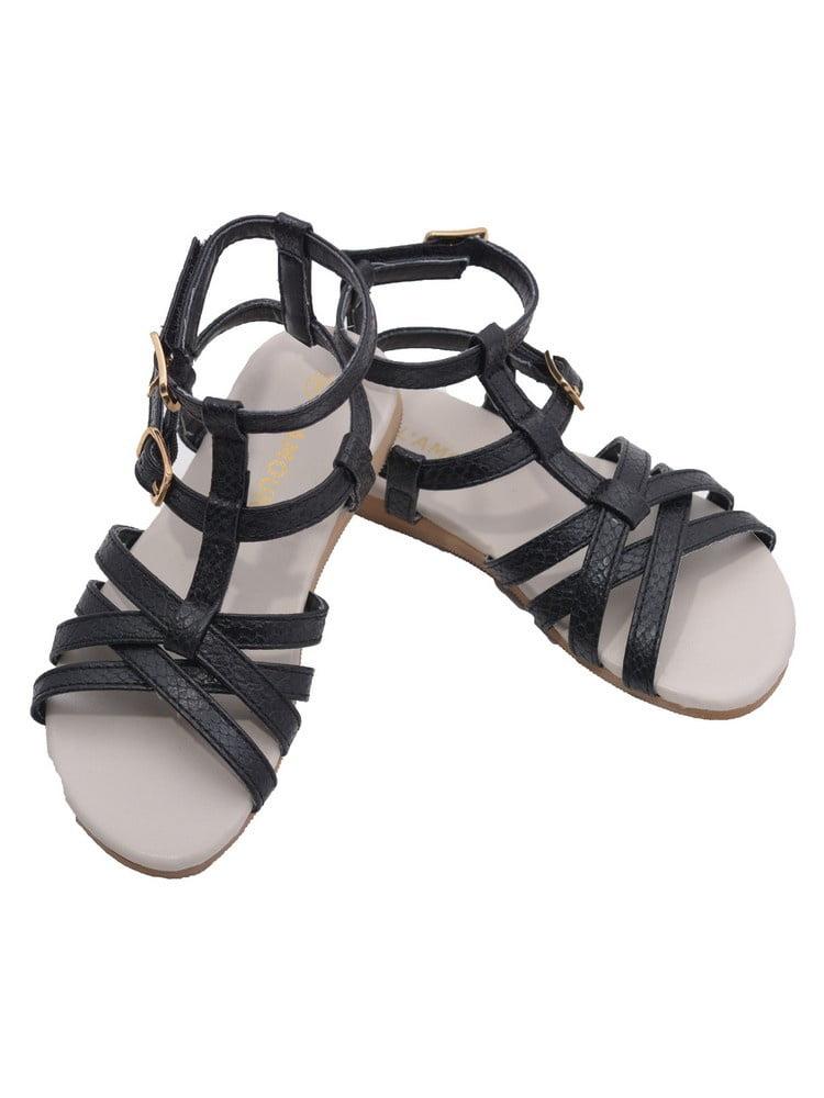 L'Amour Toddler Girls Black Faux Python Gladiator Sandals 7-10 Toddler