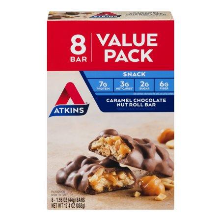Atkins Snack Bar, Caramel Chocolate Nut Roll, Keto Friendly, 8 Count