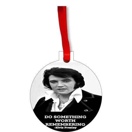 Ornaments Vintage Elvis Presley Quote Do Something Worth Remembering Round Shaped Flat Hardboard Christmas Ornament Tree Decoration - Unique Modern Novelty Tree Décor - Do It Yourself Christmas Decorations