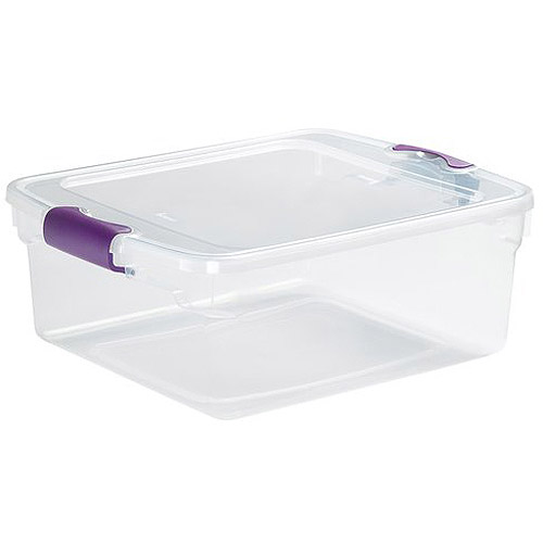 Homz 15.5 Qt. Plastic Storage Tote with Latches, Clear/Blue