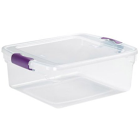 Homz 15.5 Qt. Plastic Storage Tote with Latches, Clear/Purple