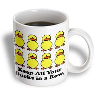 3dRose Funny Keep All Your Ducks in a Row Cartoon Design, Ceramic Mug, 11-ounce](Ceramic Duck)