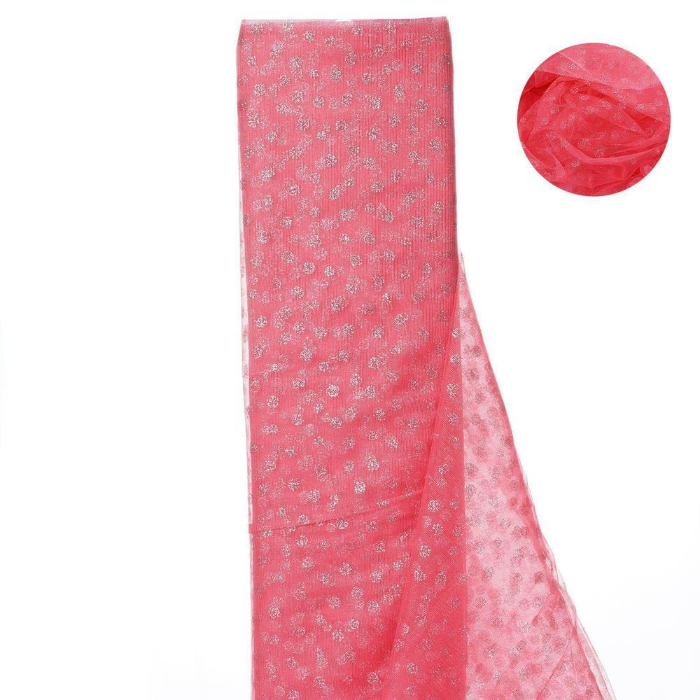 Glittered Polka Dot Tulle Fabric -Rose Quartz- 54 x 15 Yards