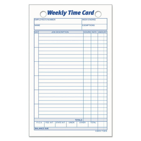 TOPS Employee Time Card, Weekly, 4 1/4 x 6 3/4, 100/Pack -TOP3016