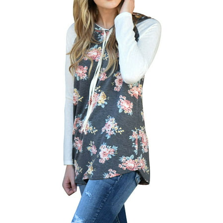 Starvnc Women Long Sleeve Splice Floral Print Design Asymmetric Hem Hoodie Tops