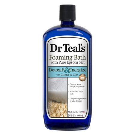 Dr Teal's Foaming Bath with Pure Epsom Salt, Detoxify & Energize with Ginger & Clay, 34 (Ginger Scented Bath Salt)