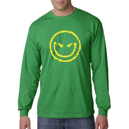 New Way 903 - Unisex Long-Sleeve T-Shirt Evil Smiley Smile Emoji Face 4XL Kelly Green](Smiley Face Lights)