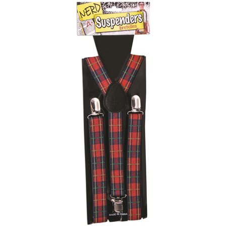 Nerd Suspenders Adult Plaid With Silver Clips Costume Accessory Halloween Party for $<!---->