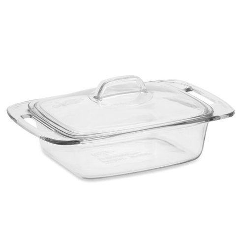 , Easy Grab Covered Glass Casserole Dish, 2 qt 1 ea, Non-porous glass won't absorb stains or odors Measures... by