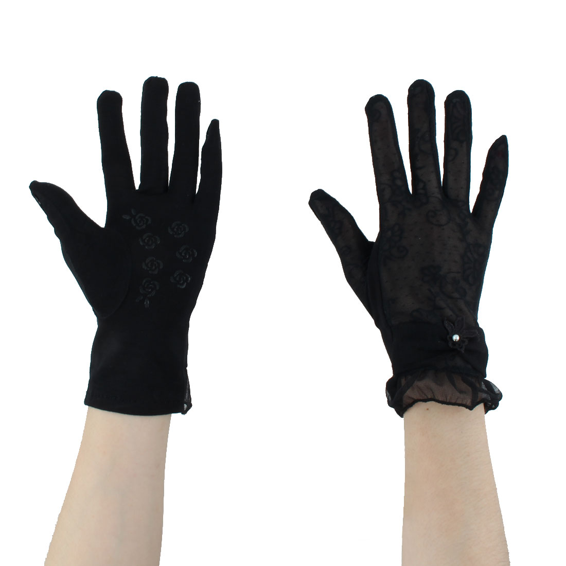Ladies Driving Cycling Bowknot Decor Sun Resistant Gloves Gray Pair by