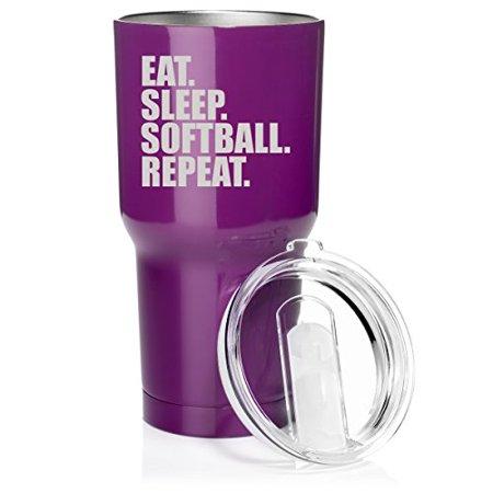 367cbc86688 Tumbler Stainless Steel Vacuum Insulated Travel Mug Eat Sleep Softball  Repeat (Purple) - Walmart.com