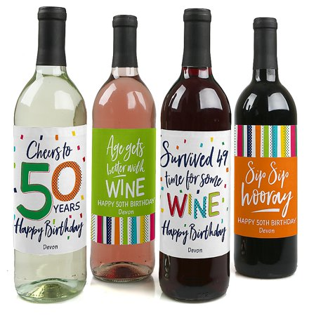 50th Birthday - Cheerful Happy Birthday - Colorful Fiftieth Birthday Party Decorations for Women and Men - Wine Bottle Label Stickers - Set of 4 ()
