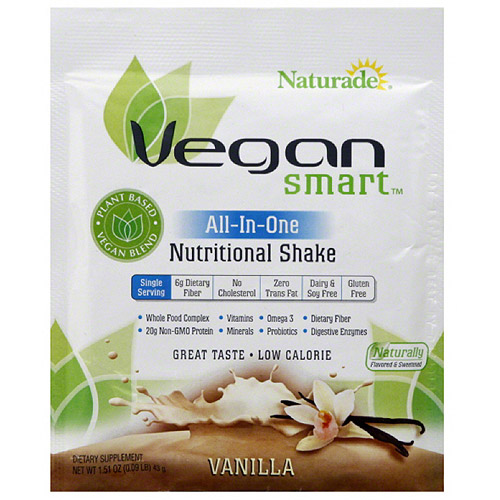 Naturade VeganSmart All-In-One Vanilla Nutritional Shake Mix Dietary Supplement, 1.51 oz, (Pack of 12)