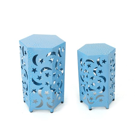 Carusa Indoor 12 and 14 Inch Iron Moon and Stars Side Tables, Crackle Blue