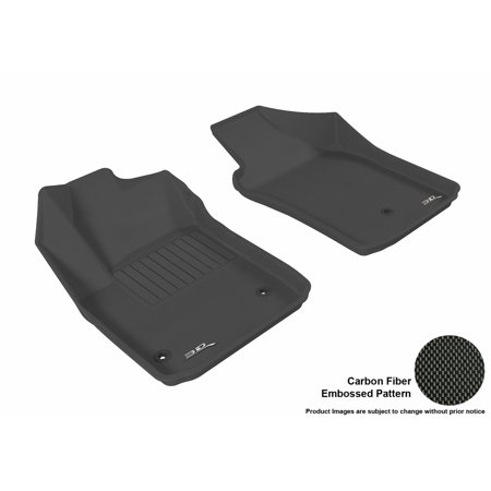 500 Carbon Fiber - 3D MAXpider 2012-2017 Fiat 500/ 500E Front Row All Weather Floor Liners in Black with Carbon Fiber Look