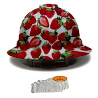 Full Brim Pyramex Hard Hat, Strawberries Design Safety Helmet 4pt + 3pk Beige Hard Hat Sweatband, by Acerpal