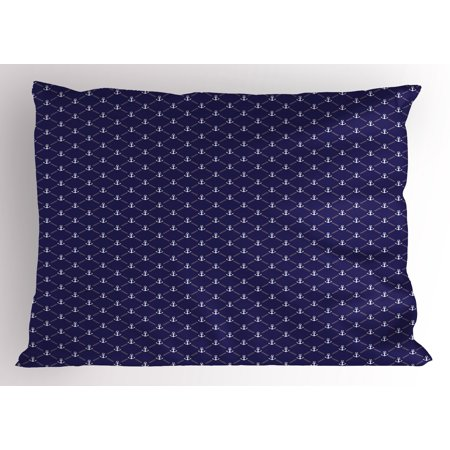 Anchor Pillow Sham Checkered Pattern With Stylized Chain And Marine Icon Ocean Cruise Vacation  Decorative Standard King Size Printed Pillowcase  36 X 20 Inches  Royal Blue White  By Ambesonne