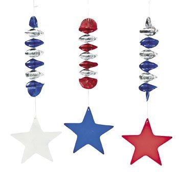 Patriotic Stars Dangling Spirals - Party Decorations & Hanging