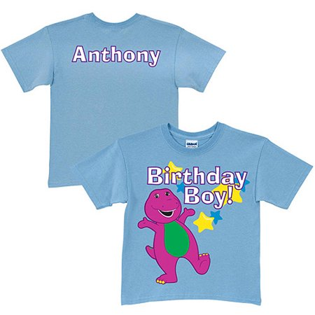 Personalized Barney Birthday Light Blue Boys T Shirt