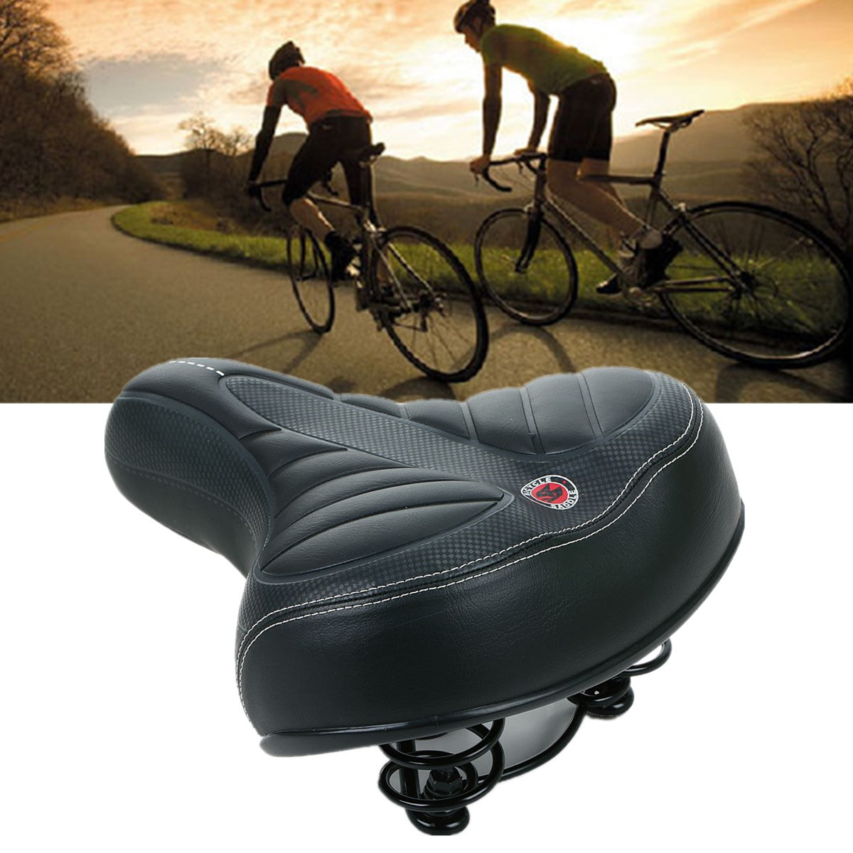 Dual-spring design Wide Extra Comfy MTB Bike Bicycle Road Riding Gel Cruiser Comfort Sporty Soft Pad Saddle Seat
