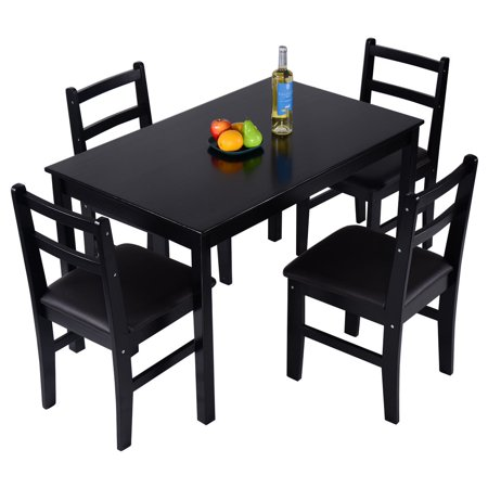 Costway 5 Pcs Pine Wood Dining Set Table And 4 Upholstered