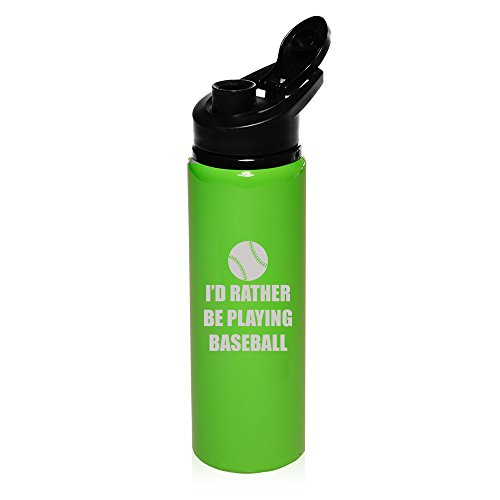 25 oz Aluminum Sports Water Travel Bottle I'd Rather Be Playing Baseball Softball (Bright-Green) by
