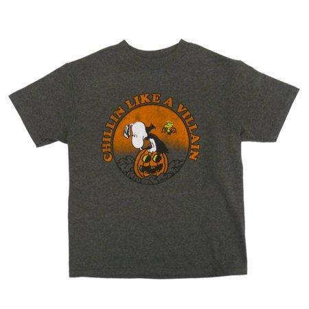 Peanuts Boys Gray Snoopy Chillin Like A Villain Halloween T-Shirt