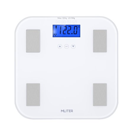 MLITER Body Fat Hydration Scale High Precision 7 Health Metrics Measuring Super White 6mm Tempered Glass Platform Large LCD Display With Blue - Metric Tri Scale
