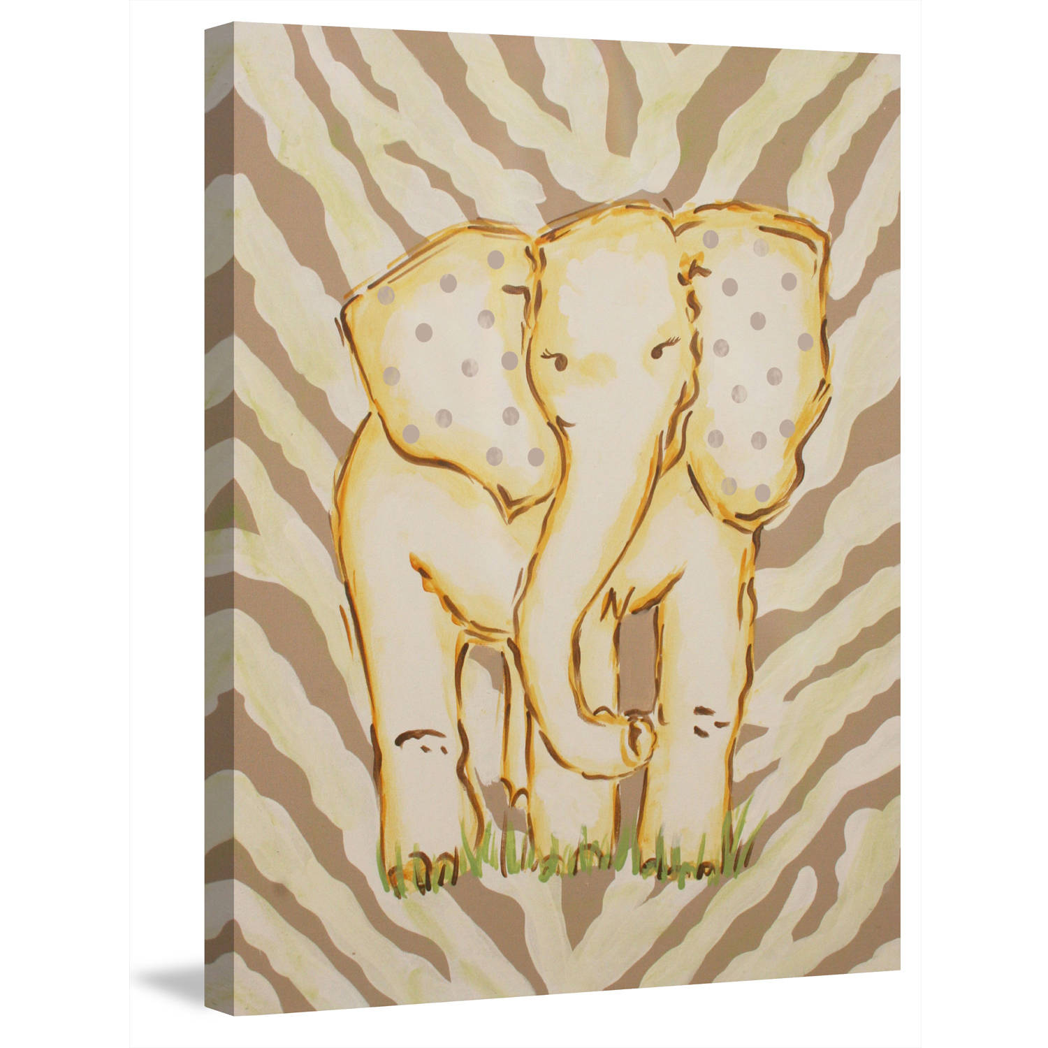 "Marmont Hill ""Tan Elephant"" by Reesa Qualia Painting Print on Wrapped Canvas"