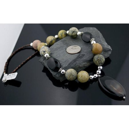 - Large Certified Authentic Navajo .925 Sterling Silver Natural Black Onyx Jasper Native American Necklace