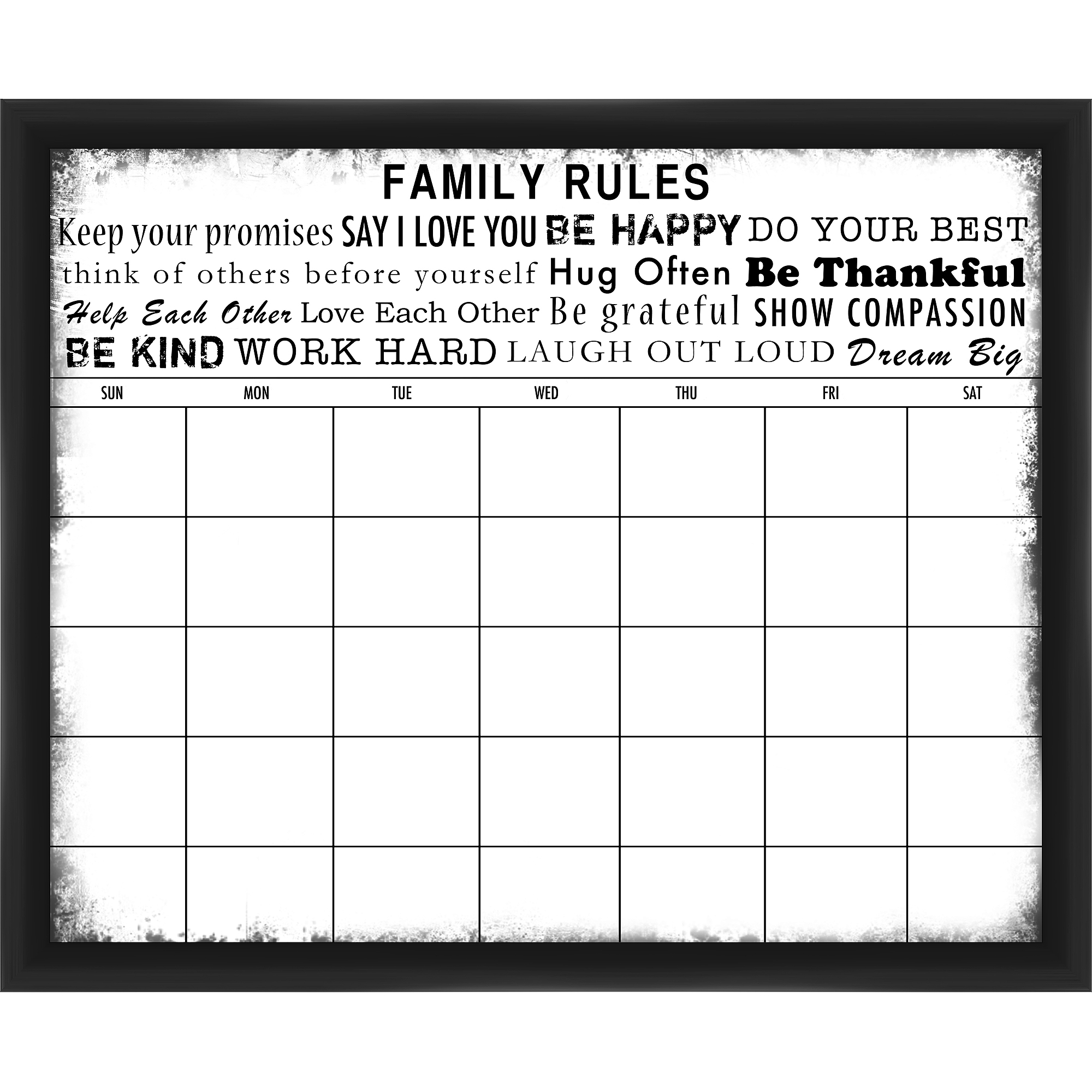 Family Rules Black Memoboard