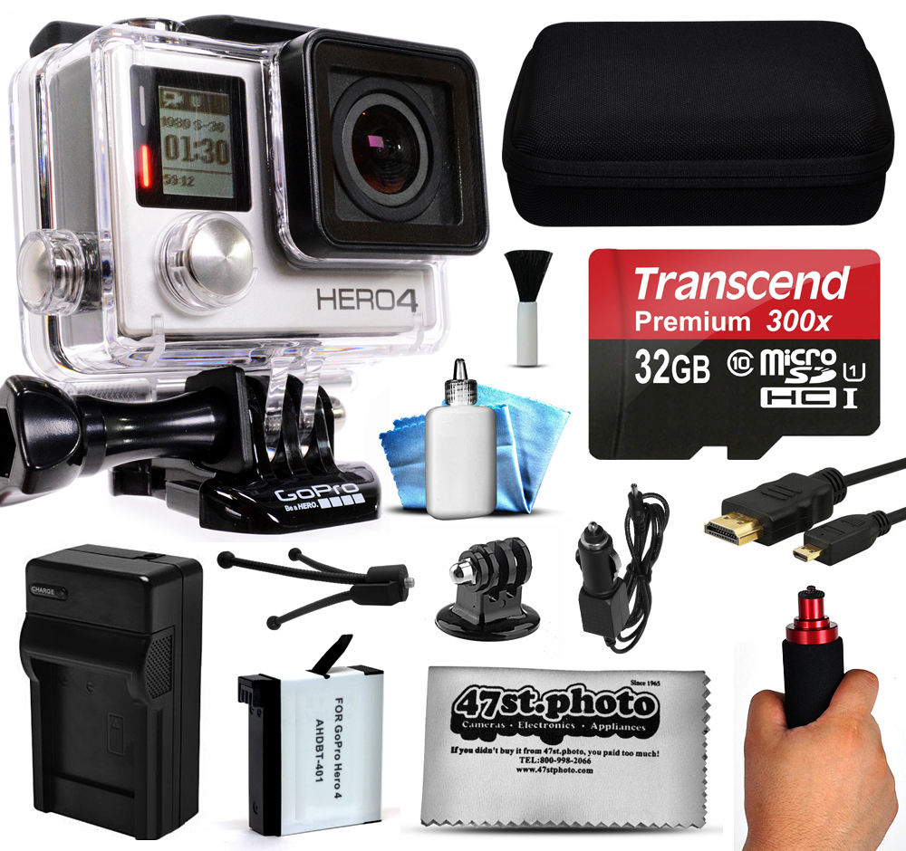 GoPro HERO4 Hero 4 Black Edition 4K Action Camera Camcorder with 32GB Best Value Kit with MicroSD Card, Hand Grip, Extra Battery, Home and Car Charger, Medium Case, HDMI, Cleaning Kit (CHDHX-401)