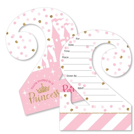 2nd Birthday Little Princess Crown - Shaped Fill-in Invitations - Pink and Gold Princess Second Birthday Party Invites - Golden Birthday Invitations