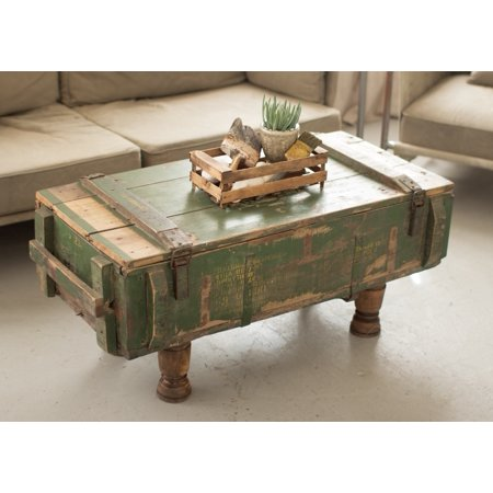 42 Antique Style Military Artillery Trunk Coffee Table Distressed Green Paint